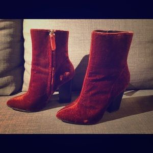 Zara maroon red velvet and boots size 38